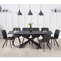 Product photograph showing Brilly Extending Grey Effect Glass Dining Table 6 Grey Chairs