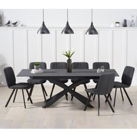Product photograph showing Brilly Extending Grey Effect Glass Dining Table 8 Grey Chairs