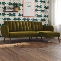 Brittany Linen Sectional Sofa Bed In Green With Wooden Legs