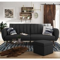 Brittany Linen Sofa Bed In Dark Grey With Wooden Legs