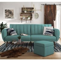 Brittany Linen Sofa Bed In Light Blue With Wooden Legs