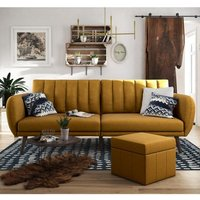 Brittany Linen Sofa Bed In Mustard With Wooden Legs