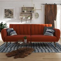 Brittany Linen Sofa Bed In Orange With Wooden Legs
