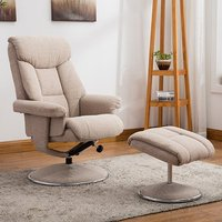 Product photograph showing Brixton Fabric Swivel Recliner Chair With Footstool In Wheat
