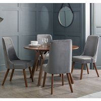 Bromley Wooden Dining Table Round In Walnut With 4 Grey Chai