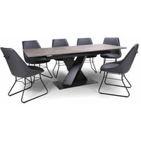 Product photograph showing Bronx Extending Dining Set In Grey With 6 Grey Cooper Chairs