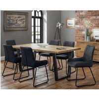 Product photograph showing Brooklyn Dining Set With 6 Soho Black Leather Chairs