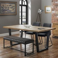 Product photograph showing Brooklyn Dining Set With Soho Bench And 2 Black Leather Chairs