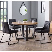 Product photograph showing Brooklyn Round Dining Set With 4 Soho Black Leather Chairs