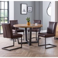 Product photograph showing Brooklyn Dining Set With Soho Bench And 4 Black Leather Chairs
