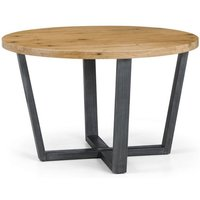 Product photograph showing Brooklyn Round Wooden Dining Table In Oak