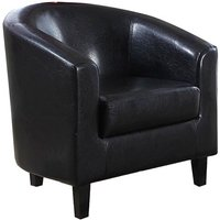 Product photograph showing Bruna Faux Leather Single Tub Chair In Black