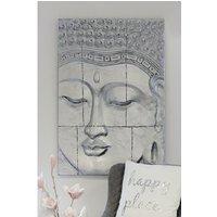 Buddhahead Wall Art Rectangular In Silver Fibreglass