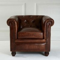 Product photograph showing Buffaloes Leather Armchair In Dark Brown