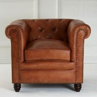 Product photograph showing Buffaloes Leather Armchair In Light Brown