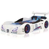 Buggati Veron Childrens Car Bed In White With Spoiler And LED