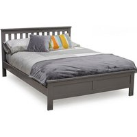 Product photograph showing Buntin Wooden King Size Bed In Grey Painted Finish