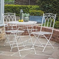 Product photograph showing Buramo Outdoor Metal Gatehouse Bistro Set In White