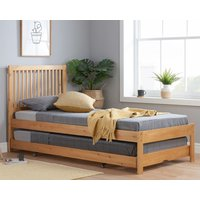 Product photograph showing Buxton Wooden Single Bed With Guest Bed In Honey Pine