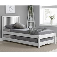 Product photograph showing Buxton Wooden Single Bed With Guest Bed In White