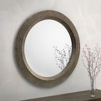 Product photograph showing Cadence Large Round Ornate Wall Mirror In Pewter