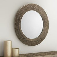 Product photograph showing Cadence Small Round Ornate Wall Mirror In Pewter