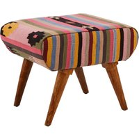 Product photograph showing Cafenos Fabric Footstool In Multicolour With Oak Legs