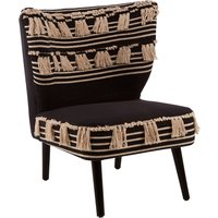 Product photograph showing Cafenos Moroccan Cotton Fabric Bedroom Chair In Black