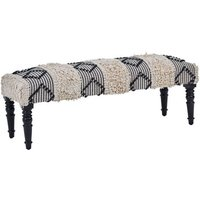 Product photograph showing Cafenos Moroccan Cotton Fabric Bench In White