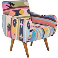 Product photograph showing Cafenos Multi-coloured Fabric Bedroom Chair With Mango Wood Legs