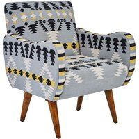 Product photograph showing Cafenos Multi-coloured Fabric Bedroom Chair With Oak Wooden Legs