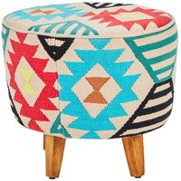 Product photograph showing Cafenos Multi-coloured Fabric Upholstered Footstool
