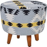 Product photograph showing Cafenos Round Fabric Footstool In Multicolour With Oak Legs