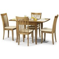 Cainsville Wooden Dining Table In Maple Finish With Four Chairs