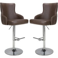 Product photograph showing Cairo Brown Leather Effect Bar Stool In Pair