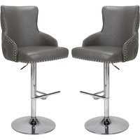 Product photograph showing Cairo Grey Leather Effect Bar Stool In Pair