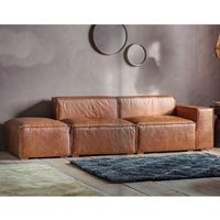 Product photograph showing Calgola Faux Leather Corner Sofa In Vintage Brown