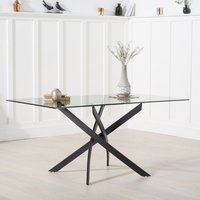 Calibar Glass Dining Table Rectangular In Clear With Metal Legs