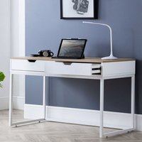 Product photograph showing California Wooden Laptop Desk In White High Gloss And Oak