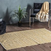 Product photograph showing Callisto Bold Flat Weave Rug In Ochre And Cream