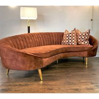 Product photograph showing Camari Velvet 3 Seater Sofa In Vintage Burnt Orange