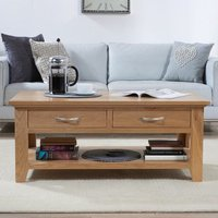 Product photograph showing Cambroad Wooden Coffee Table In Oak With 2 Drawers