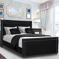 Camdenton Plush Velvet Single Bed In Black