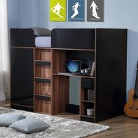Product photograph showing Cameo Children High Sleeper Bed In Walnut And Black With Storage