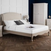 Camille Oatmeal Linen Fabric Super King Size Bed In Limed Oak
