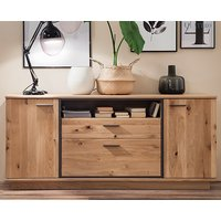 Campinas Wooden Sideboard In Knotty Oak With 2 Doors 2 Drawers