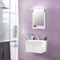 Campus Bathroom Set 1 In White With Gloss Fronts And LED Light