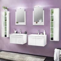 Campus Bathroom Set 4 In White With High Gloss Fronts And LED