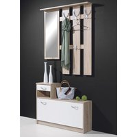 Wall Mount Hallway Stand Shoe Storage In Canadian Oak And White