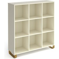 Canary High Wooden Shelving Unit In White And 9 Shelves
